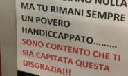 MESSAGGIO SHOCK LASCIATO SUL PARCHEGGIO PER HANDICAP