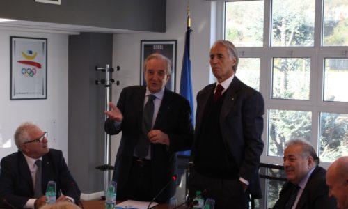 Il Presidente del Coni Giovanni Malagò in visita al Consiglio Federale