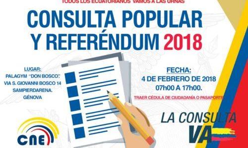 GENOVA: CITTADINI ECUADORIANI CONVOCATI AL REFERENDUM E CONSULTA POPULAR